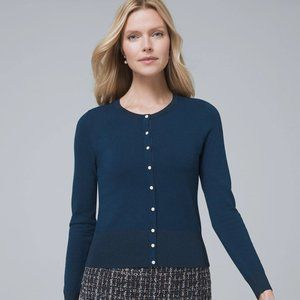 White House Black Market Cardigan w. Pearl Buttons